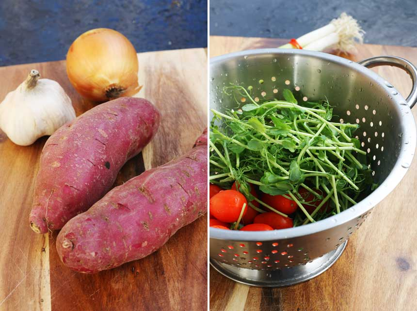 purple sweet potatoes & snow pea shoots