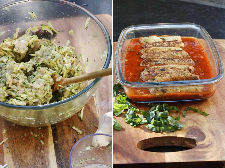 making turkey zucchini parmigiana