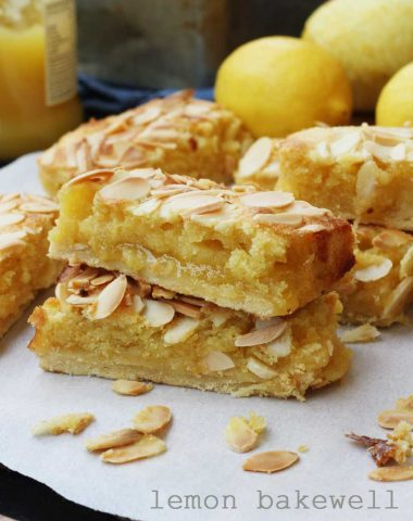 Lemon Bakewell slices by Scrummy Lane - such an easy 'impressive' dessert!
