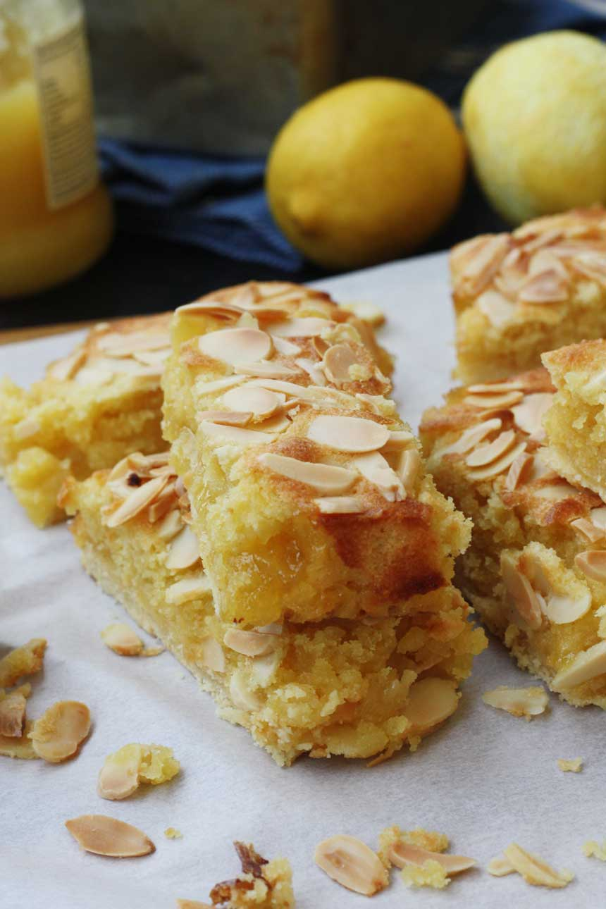 Lemon Bakewell slices by Scrummy Lane
