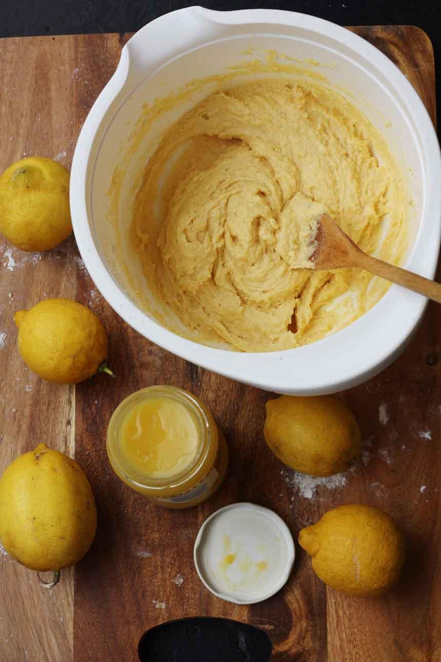 Making lemon Bakewell slices
