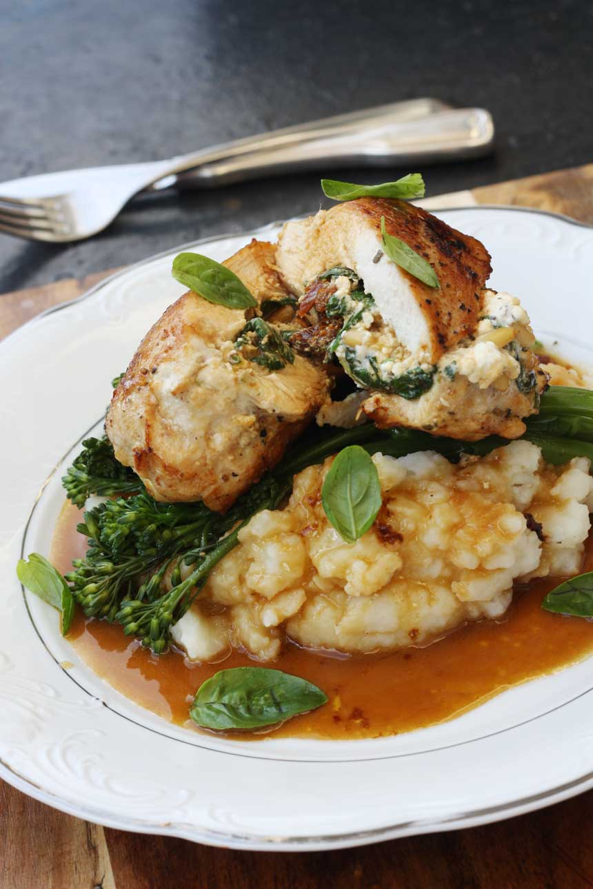 Feta and sundried tomato stuffed chicken with lemon butter gravy by Scrummy Lane