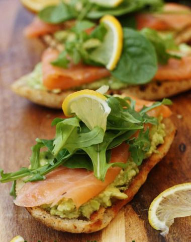 smoked salmon bruschetta with smashed avocado & feta