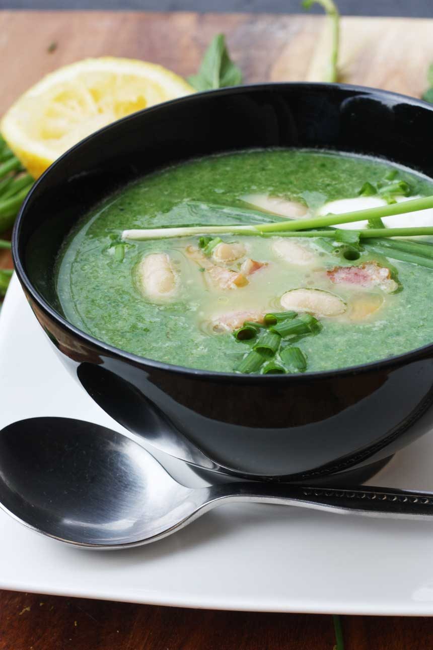 SPINACH, CANNELLINI BEAN & BACON SOUP BY SCRUMMY LANE