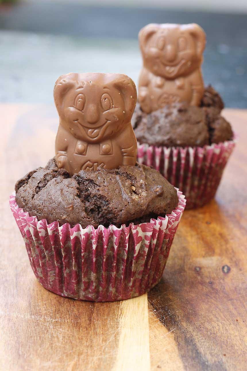chocolate caramel koala 'self-saucing' cupcakes for two