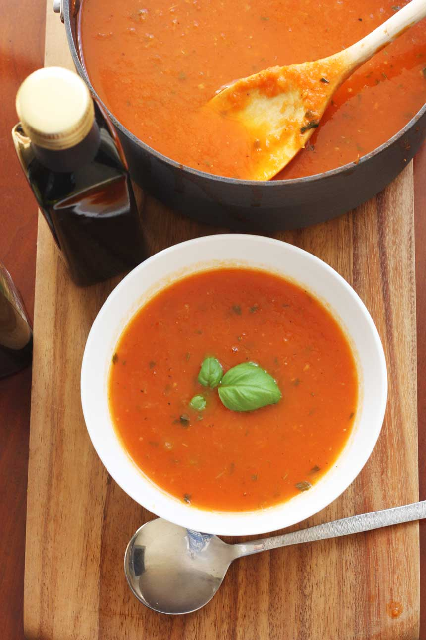 A bowl of classic tomato soup from above