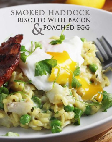Smoked fish risotto with bacon & a poached egg
