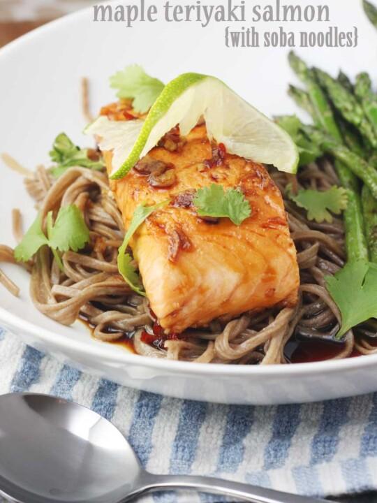 Maple teriyaki salmon with soba noodles by Scrummy Lane