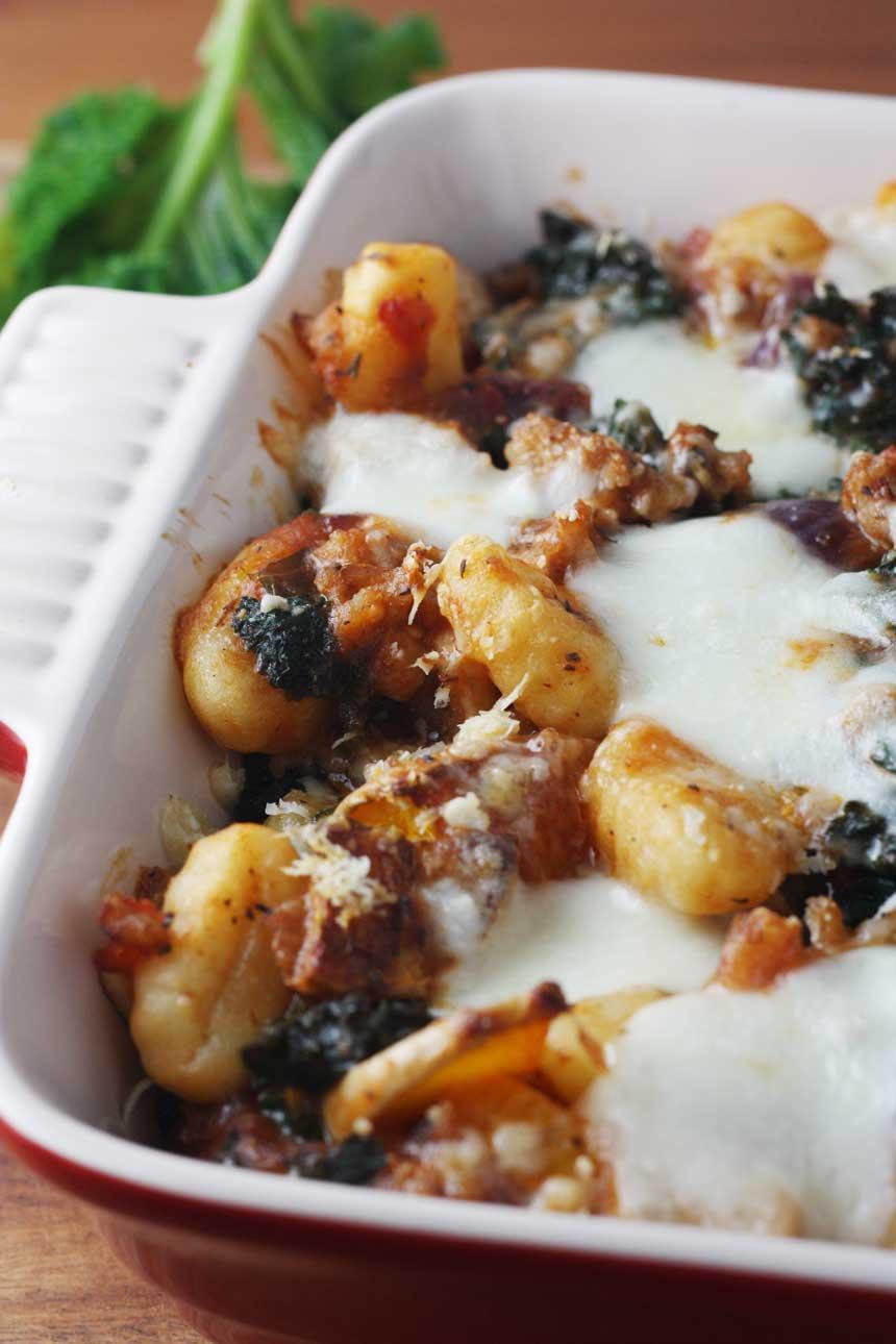 Sausage, butternut squash & kale gnocchi bake