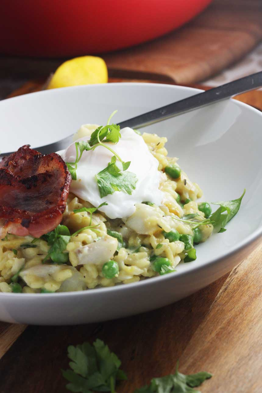 Smoked fish risotto with bacon & a poached egg by Scrummy Lane