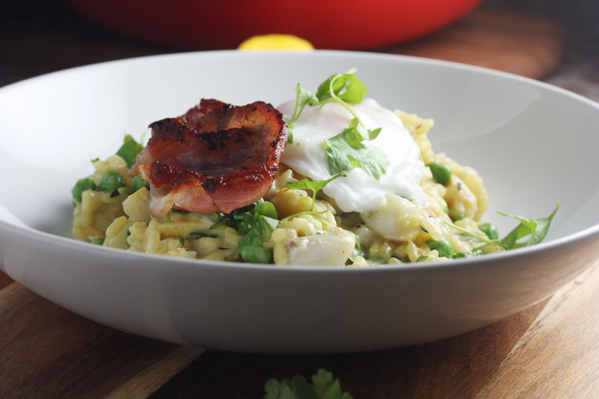 ... risotto with a hint of curry all topped with tasty bacon and a runny