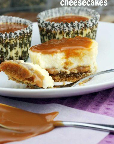 Caramel cupcake cheesecakes