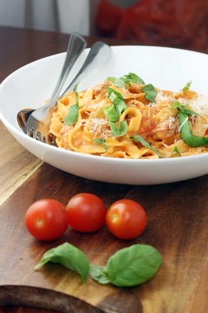 Tagliatelle with cherry tomato, chorizo & cream sauce