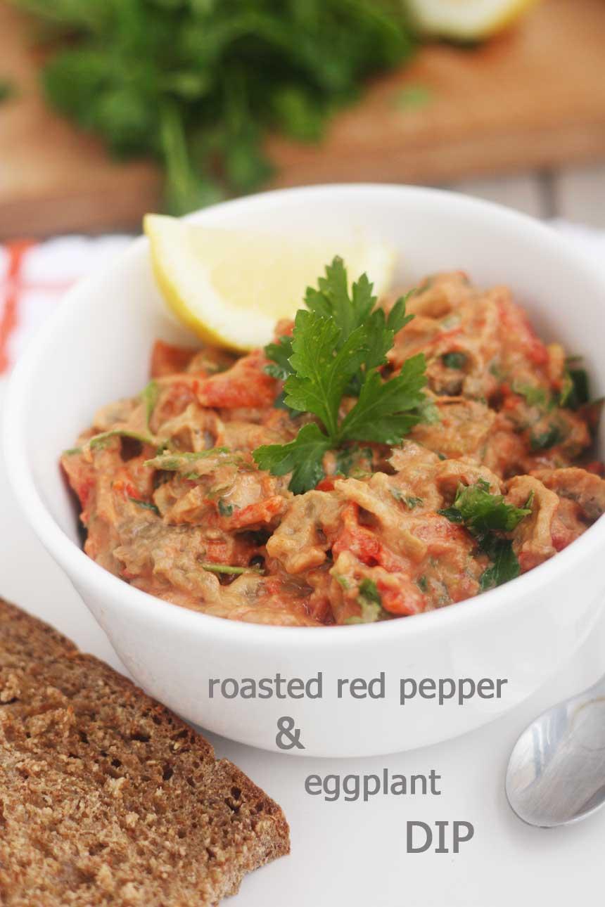Sweet roasted red pepper & eggplant dip