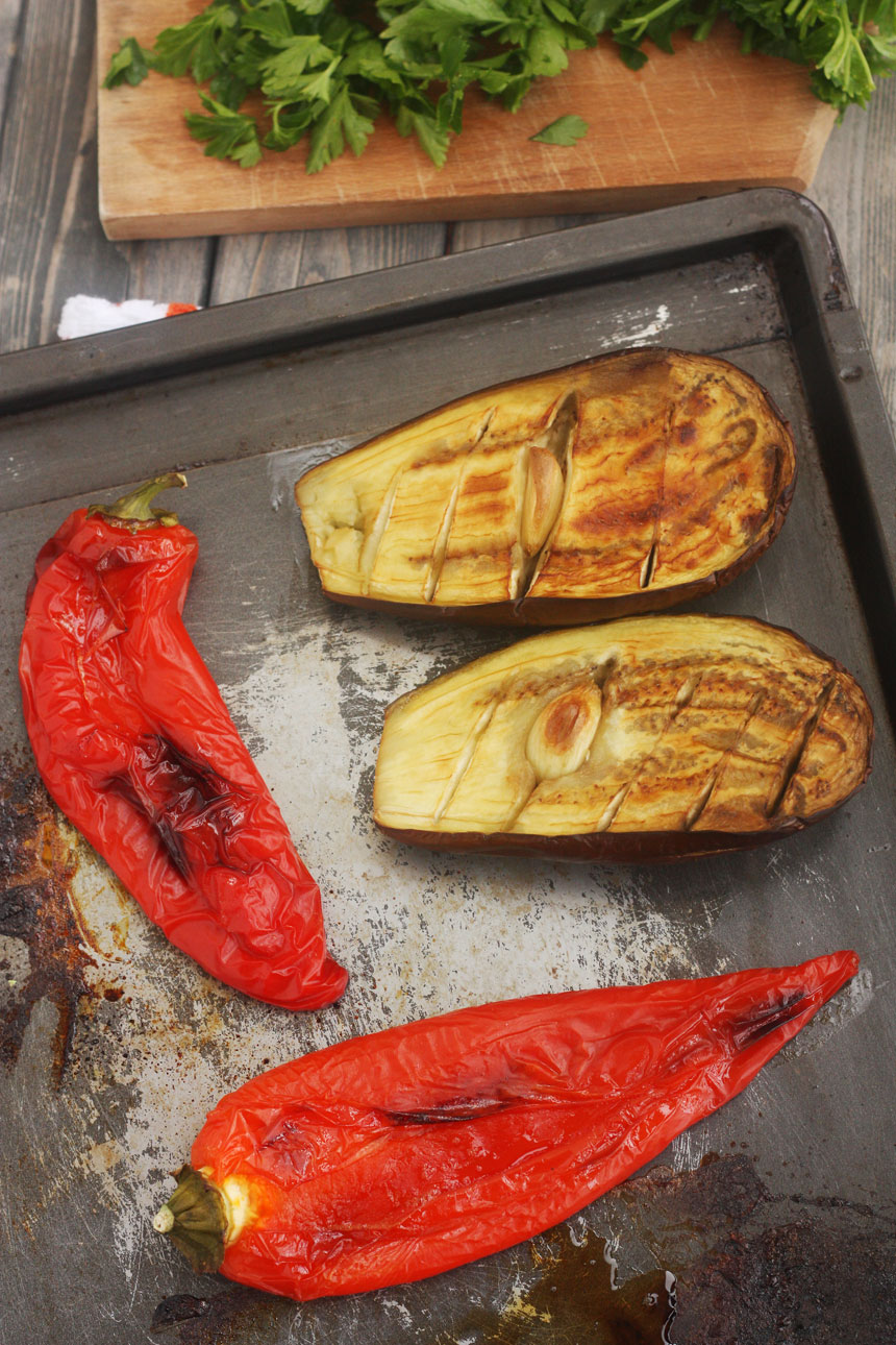 roasted eggplant & peppers