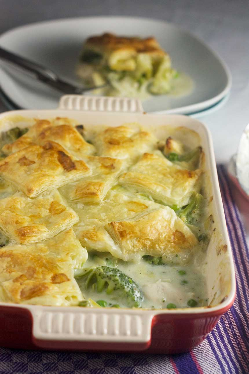 Skinny chicken & leek patchwork pie - all the comfort of a pie with fewer calories