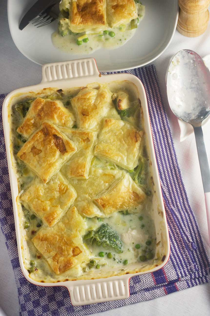 skinny chicken & leek patchwork pie - all the comfort of pie but with fewer calories