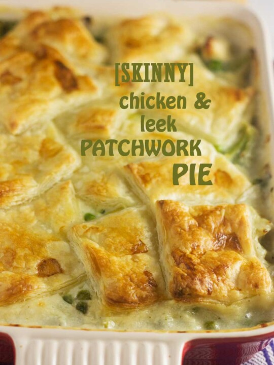 Skinny chicken & leek patchwork pie - all the comfort of pie with fewer calories