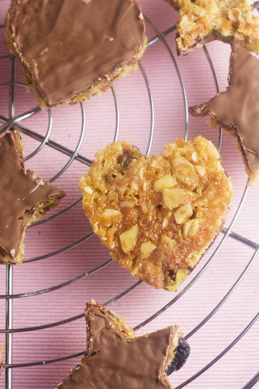 coconut & pistachio chocolate hearts & stars