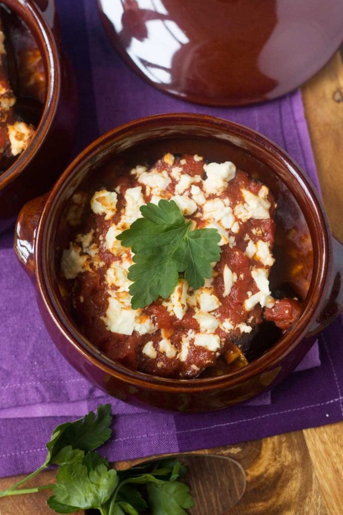 Our favourite baked eggplant with tomato and feta (gluten free!)