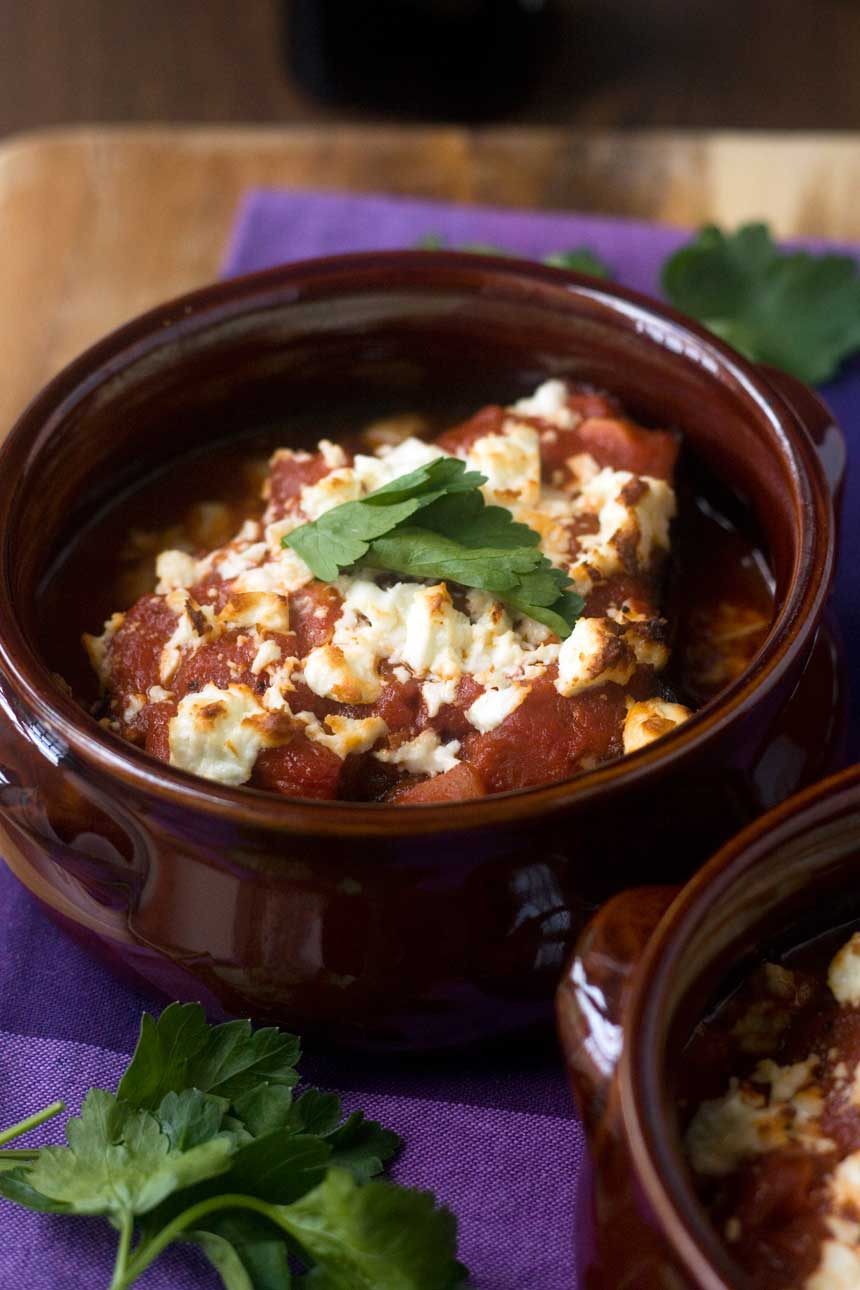 Our favourite baked eggplant with tomato & feta
