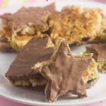 Coconut & pistachio chocolate heart & star cookies
