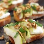 Pear, feta & walnut crostini
