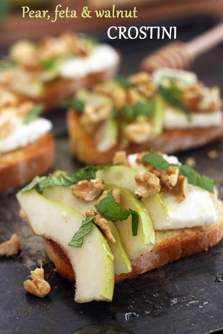 Pear, feta & walnut crostini