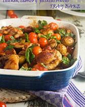 Chicken, chorizo & 'patatas bravas' tray bake