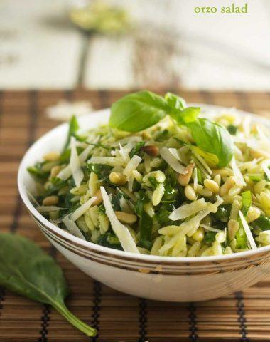 Spinach, pesto & parmesan orzo salad