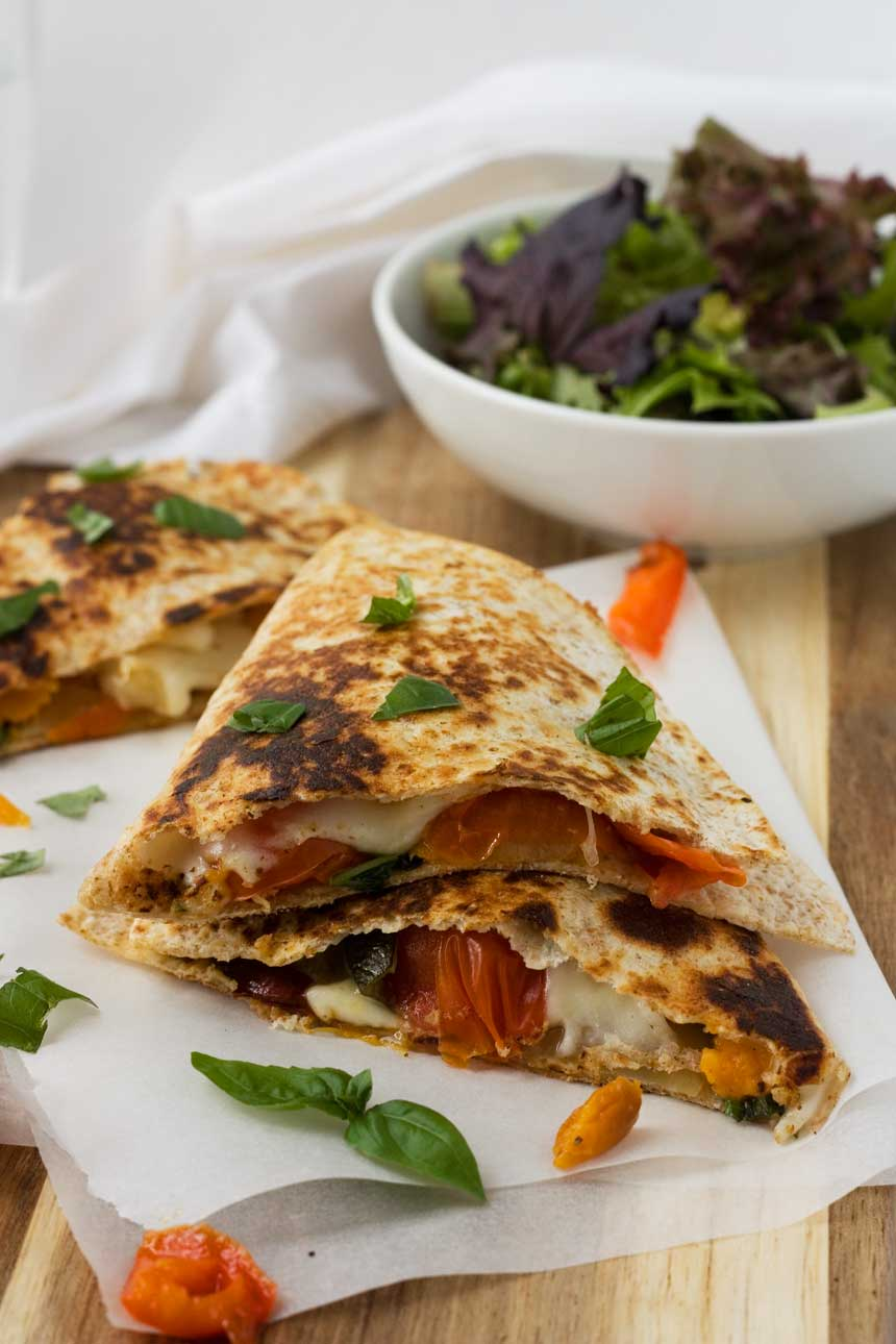 Roasted vegetable 'caprese' quesadillas - a great way to use up roasted vegetable leftovers!