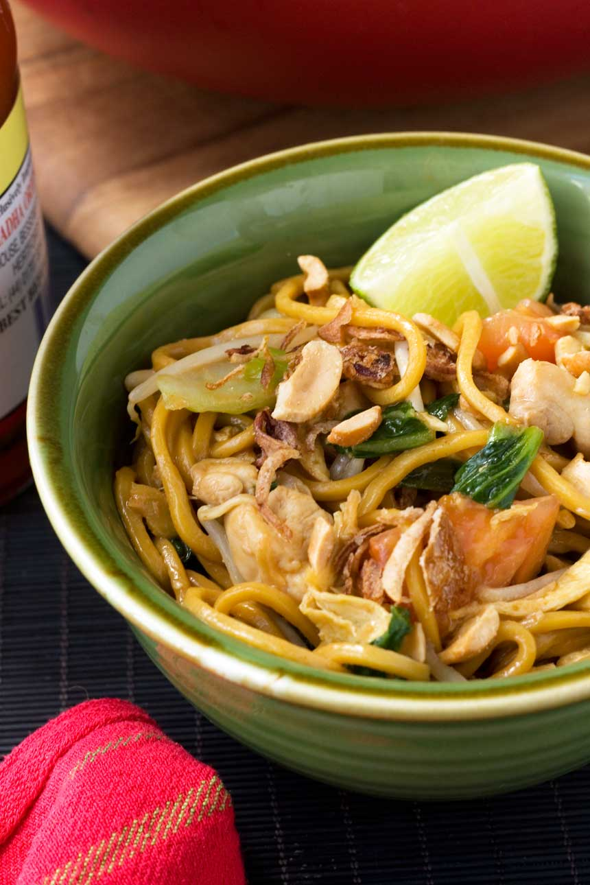 spicy Indonesian noodles (mee goreng)