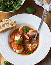 Easy ricotta gnudi with roasted tomato sauce