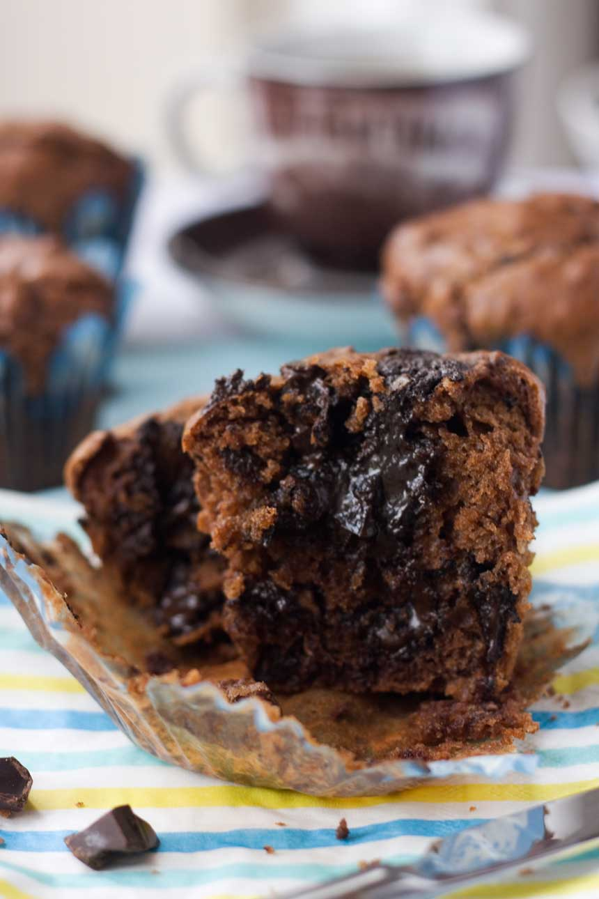 Soft-centered triple chocolate muffins - Scrummy Lane