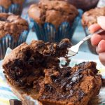 Soft-centered triple chocolate muffins