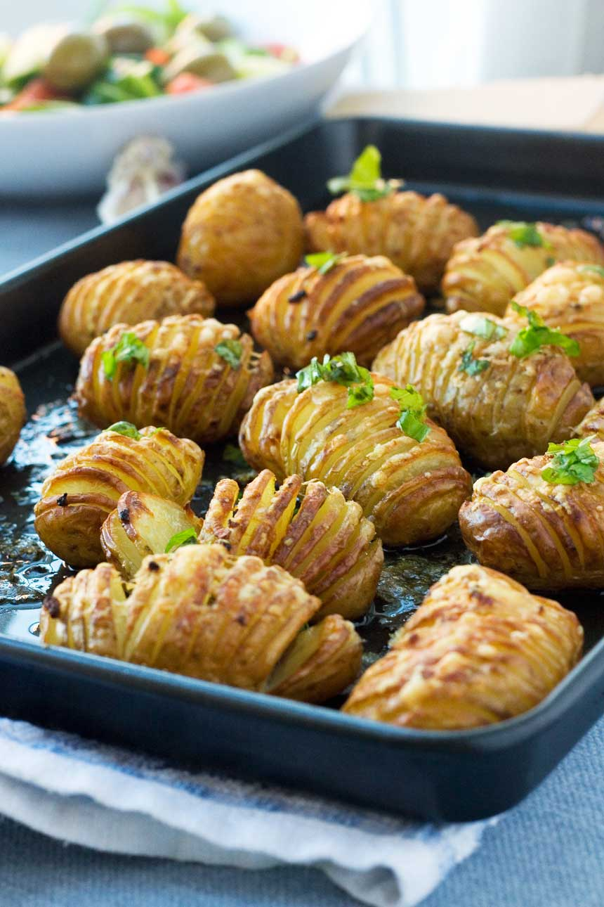 Hasselback Potatoes With Garlic And Parmesan Recipe — Dishmaps