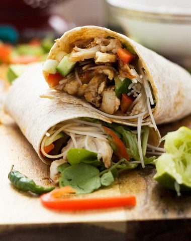 Quick hoi sin chicken noodle wrap