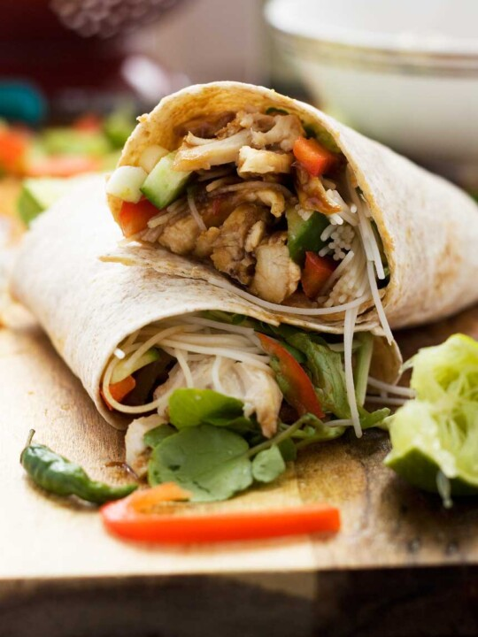 Quick hoi sin chicken noodle wrap - never be stuck over how to use your leftover rotisserie chicken again!