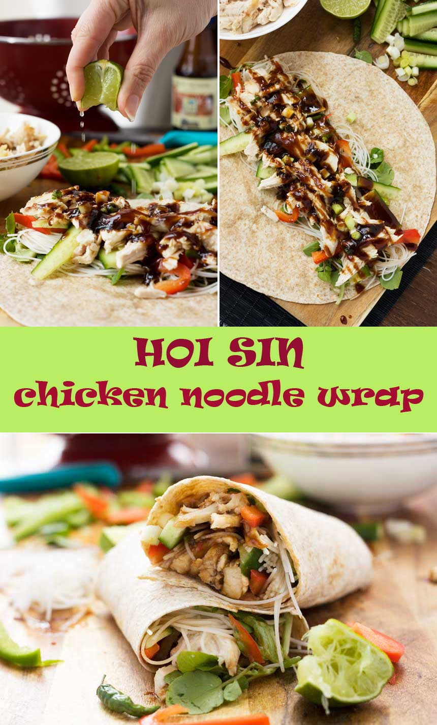 Quick hoi sin chicken noodle wrap - don't get stuck over what to do with your leftover rotisserie chicken ever again!