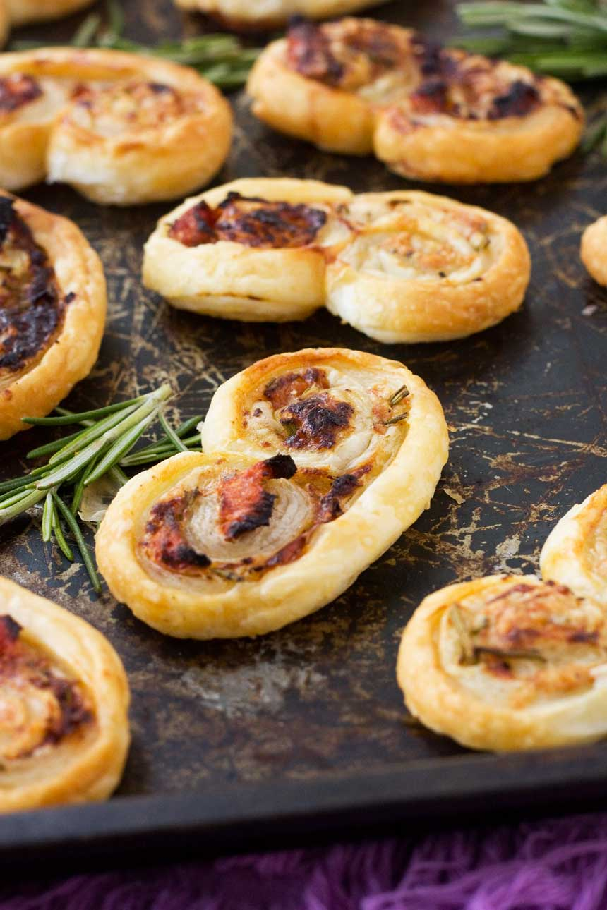 sundried tomato, parmesan & rosemary palmiers - perfect for pre-dinner nibblies!
