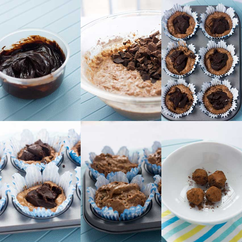 6 images showing the process of making soft-centred triple chocolate muffins
