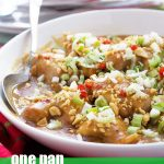 Spicy Thai peanut chicken in a white bowl garnished with red chili, peanuts and spring onions - with a spoon in it