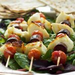 Halloumi, chorizo & tomato skewers with honey lime dressing