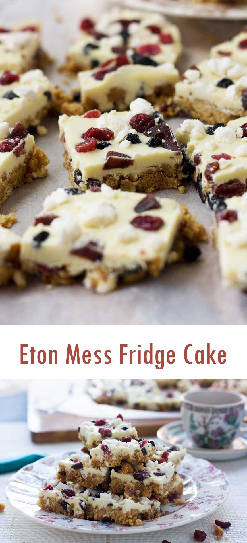 Eton Mess Fridge cake - with all the flavours of a British Eton Mess!