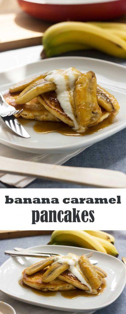 Caramelised banana pancakes