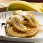 Sticky banana & caramel pancakes for two