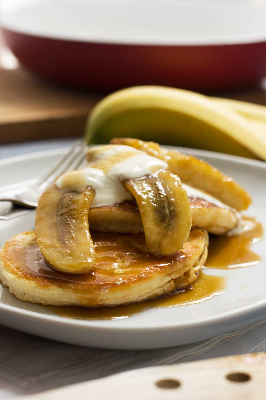 Caramelised banana pancakes