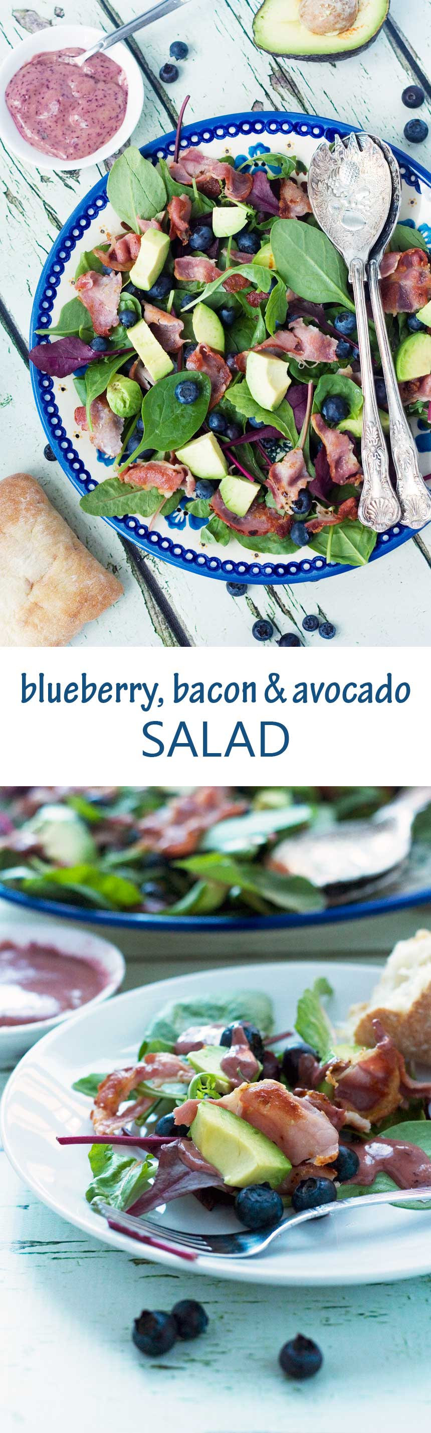 Blueberry, bacon & avocado salad with a delicious (purple!) blueberry dressing.
