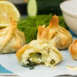 Greek filo parcels with tzatziki