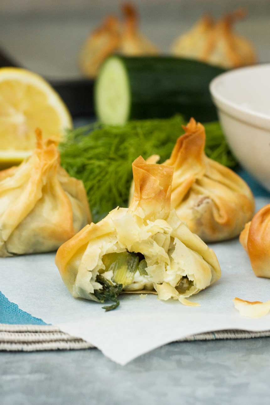 Greek filo parcels with tzatziki - Scrummy Lane
